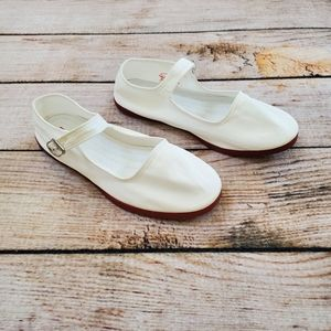 NWOT Urban Nin Hao White Canvas Mary Jane Flats
